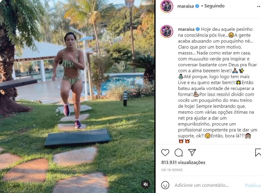 Maraísa mostra seu treino na web - Crédito: Reprodução / Instagram