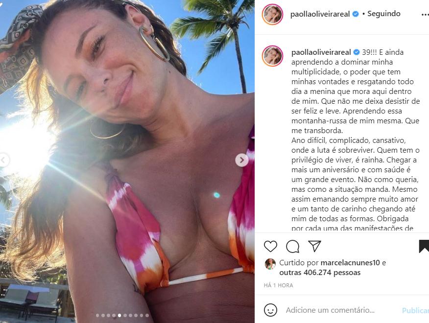 A atriz Paolla Oliveira completou 39 anos de idade - Crédito: Reprodução / Instagram