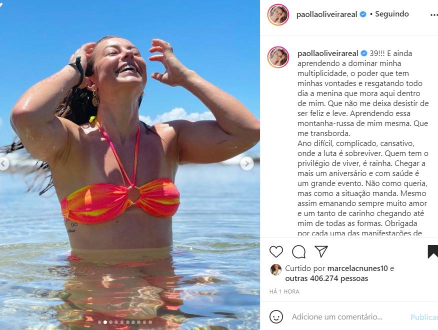 Atriz Paolla Oliveira comemora seu aniversário nas redes sociais - Crédito: Reprodução / Instagram