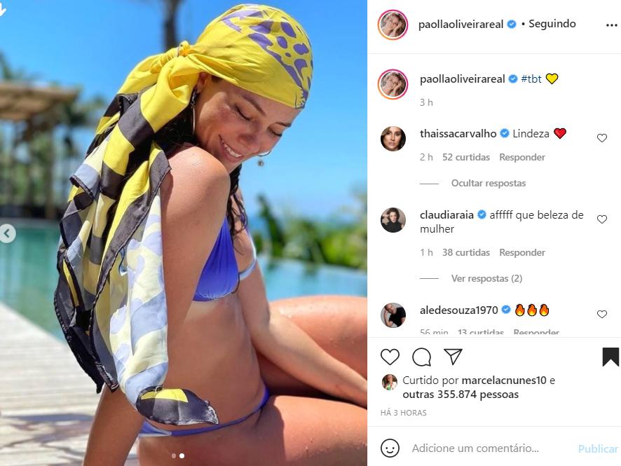 Paolla Oliveira aparece de biquíni - Crédito: Reprodução / Instagram