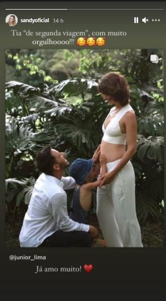 Sandy celebra gravidez da esposa de Junior Lima