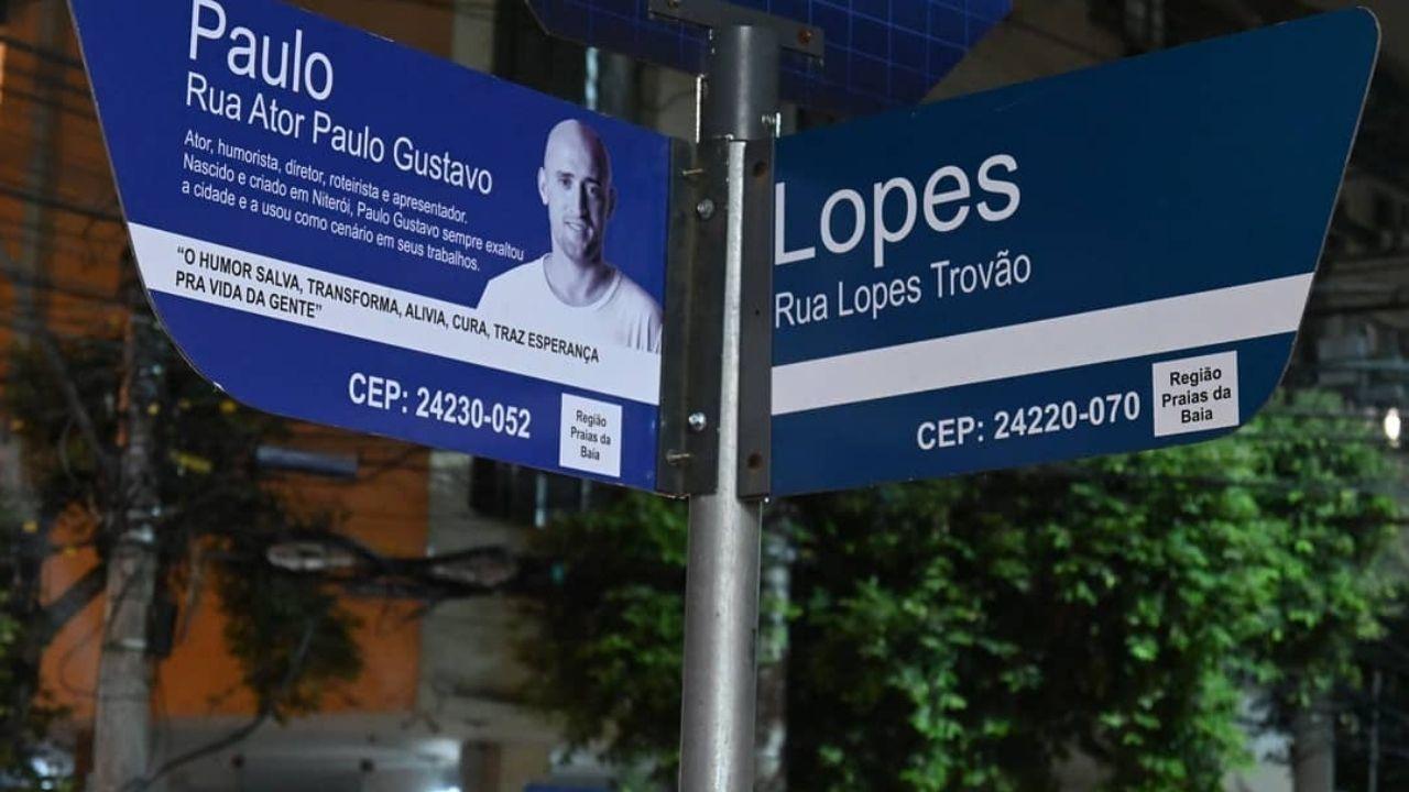 Placas da Rua Ator Paulo Gustavo foram instaladas. Foto: Reprodução/Instagram