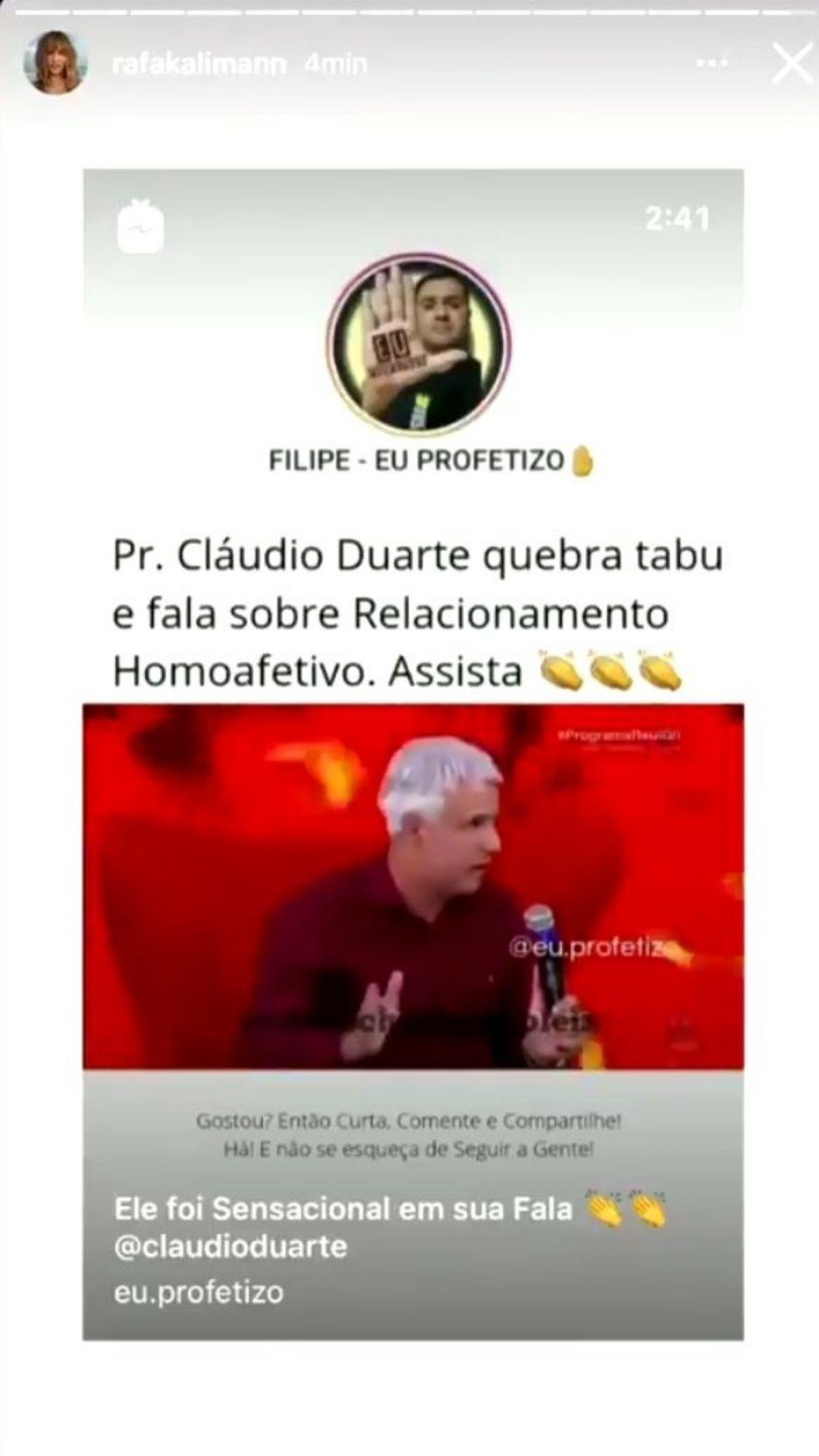 Rafa Kalimann se desculpa por postar vídeo lgbtfóbico. Foto: Reprodução/Instagram