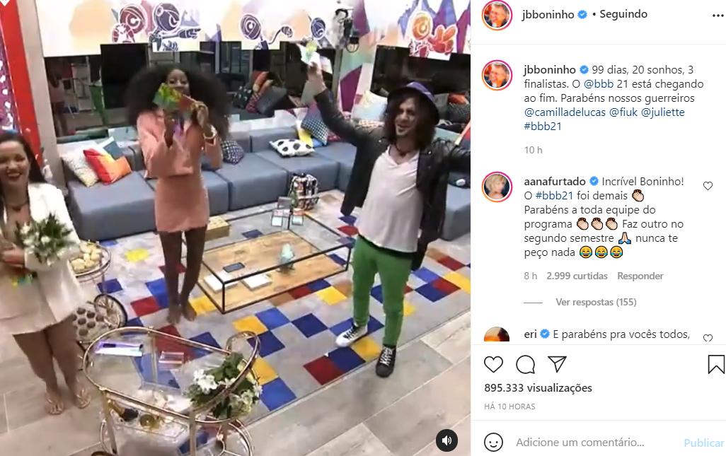 Boninho fala do fim do BBB21 - Crédito: Reprodução / Instagram