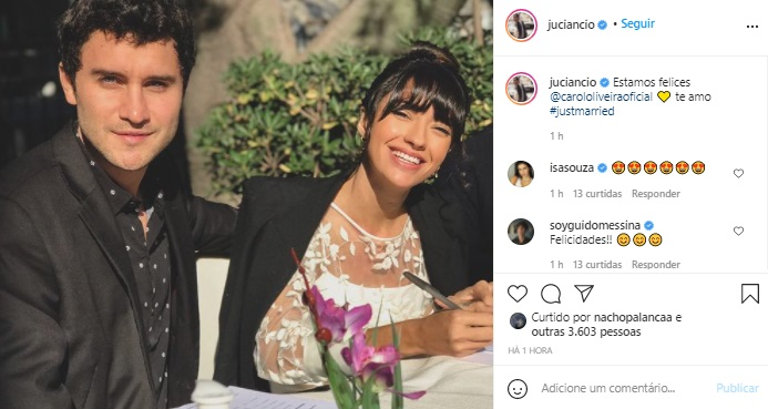 Carolina Oliveira se casa com Juan Ciancio