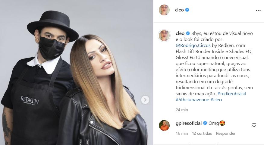 Cleo exibe seu novo visual - Crédito: Reprodução / Instagram