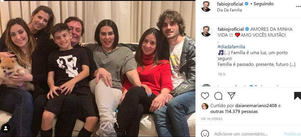 Fábio Jr mostra foto inédita com os cinco filhos e a esposa - Crédito: Reprodução / Instagram