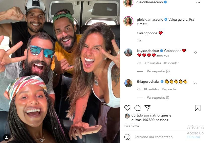 Gleici Damasceno, Kaysar Dadour, Carol Peixinho, Arcrebiano e André - Crédito - Reprodução/ Instagram