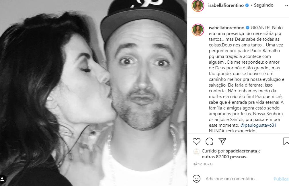 Isabella Fiorentino se despede de Paulo Gustavo - Crédito: Reprodução / Instagram