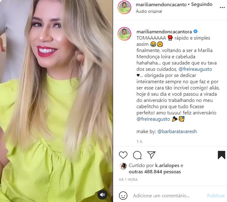 Marília Mendonça mostra antes e depois do novo visual - Crédito: Reprodução / Instagram