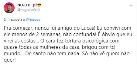 Nego Di critica Lucas Penteado após BBB21