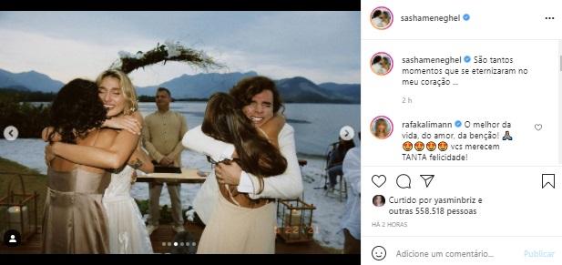 Sasha Meneghel mostra fotos inéditas do casamento