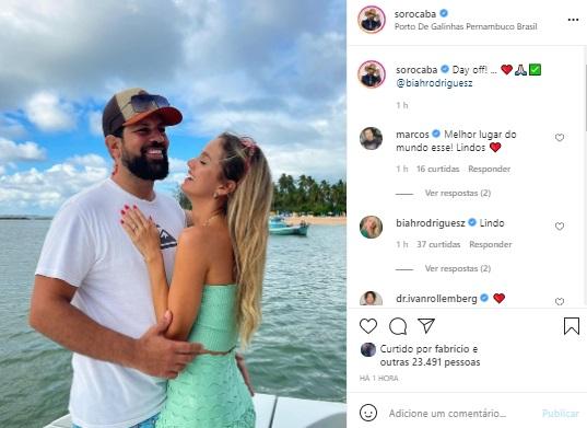 Sorocaba surge em clima de romance com Biah Rodrigues