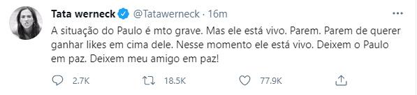 Tata Werneck fala de Paulo Gustavo - Crédito: Reprodução / Twitter