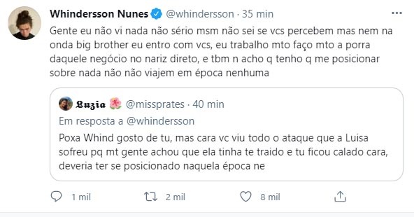 Whindersson Nunes fala no Twitter - Crédito: Reprodução / Twitter