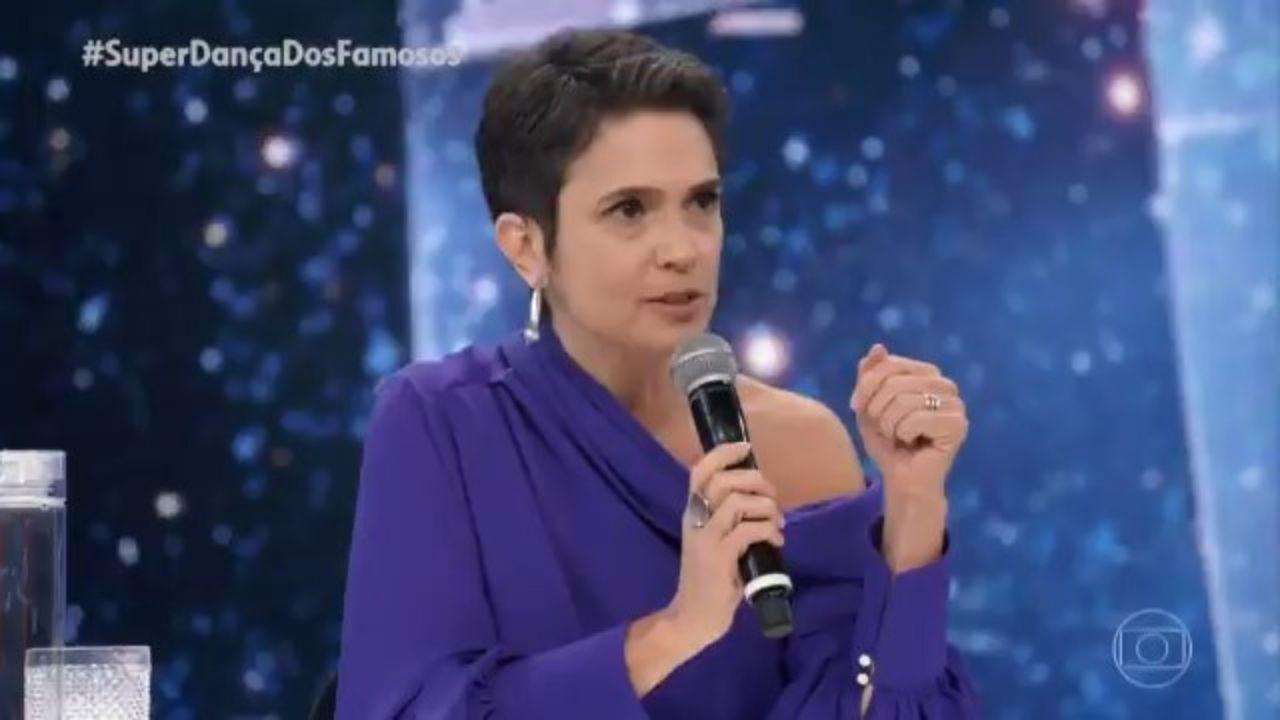 Sandra Annenberg faz apelo por vacina no 'Domingão do Faustão'. Foto: Reprodução/TV Globo