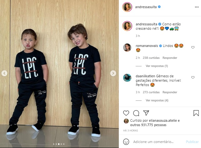 Filhos de Andressa Suita combinam look em foto