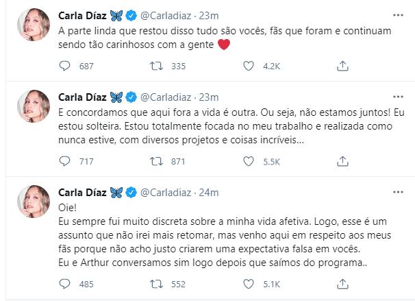 Carla Diaz fala sobre rumores com Arthur - Crédito: Reprodução / Twitter