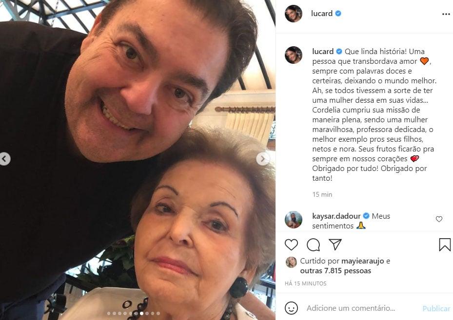 Faustão com a mãe, Dona Cordélia - Crédito: Reprodução / Instagram