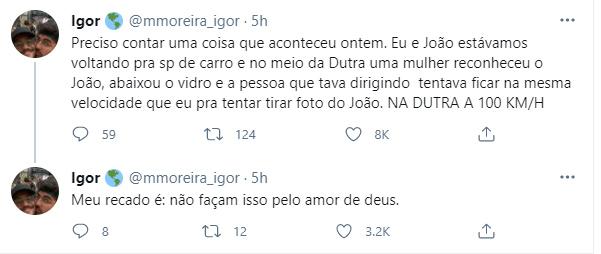 Namorado de João Luiz fala sobre perrengue com fã - Crédito: Reprodução / Twitter