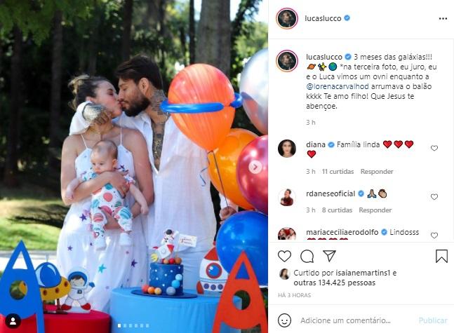 Lucas Lucco e Lorena Carvalho celebram mêsversário do filho