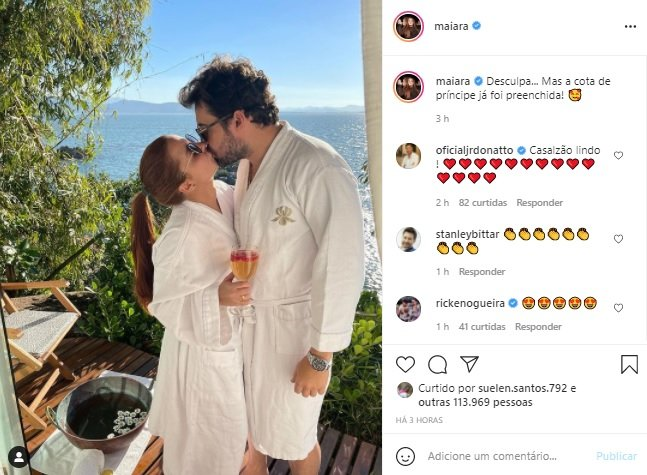 Maiara surge aos beijos com Fernando Zor