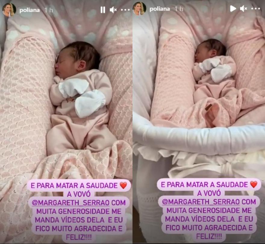 Poliana Rocha compartilha vídeo em que neta aparece dormindo