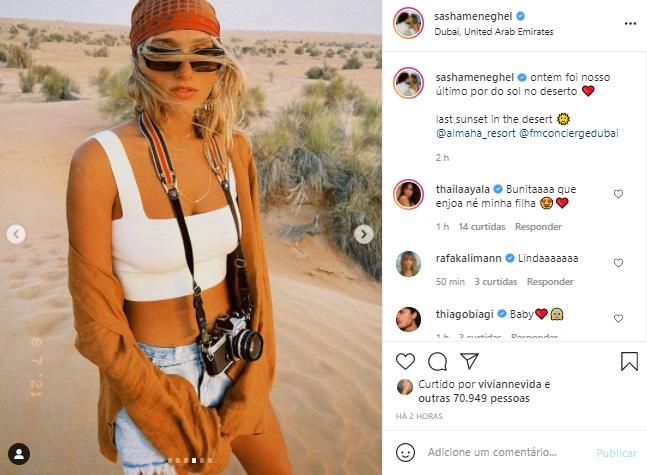 Sasha Meneghel abre álbum de fotos da lua de mel