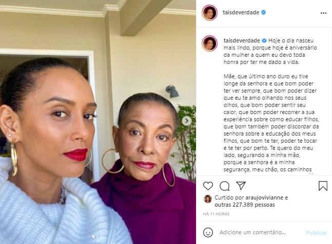 Taís Araujo surge em foto rara com a mãe