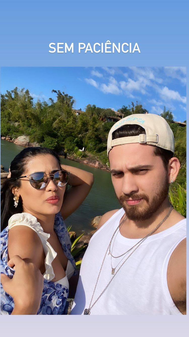 Thaynara OG e Gustavo Mioto curtem dia na praia