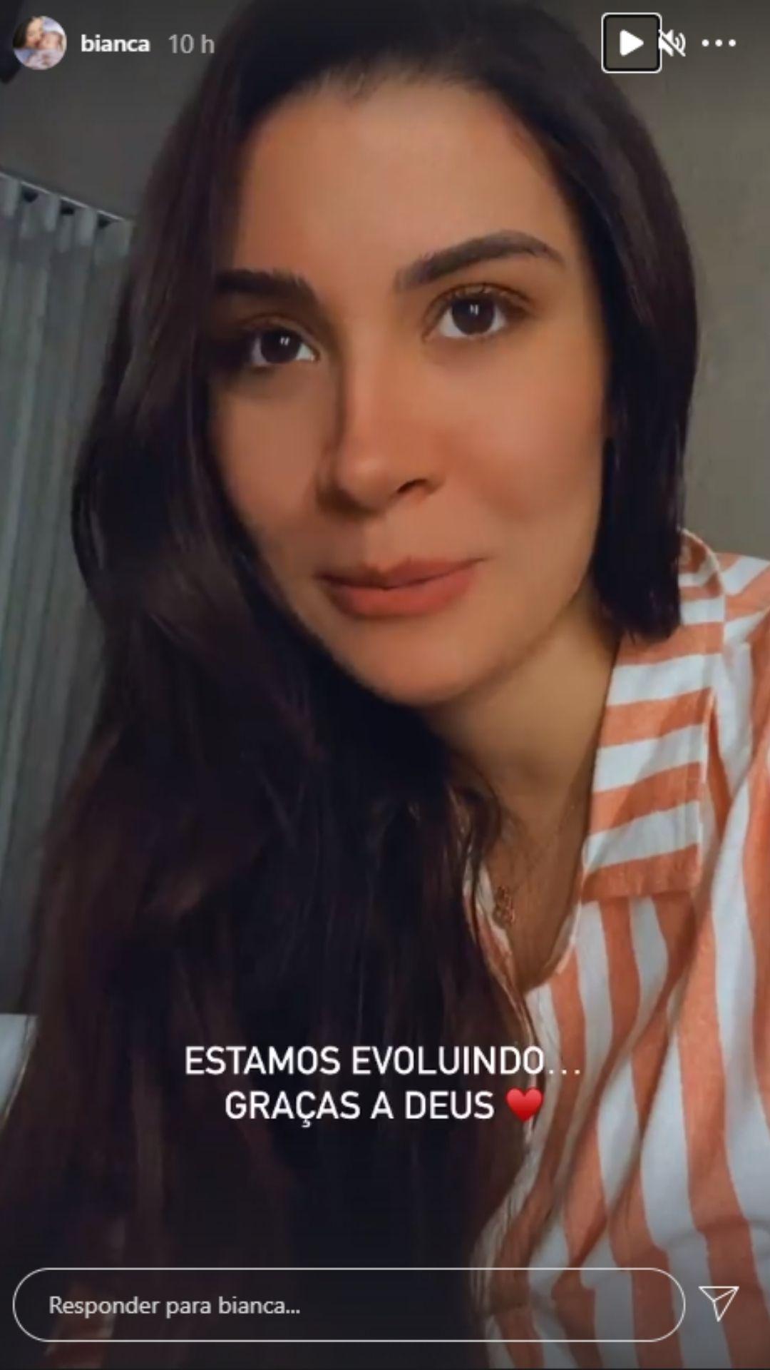 Bianca se emociona ao relatar o pós-parto. Foto: Reprodução/Instagram