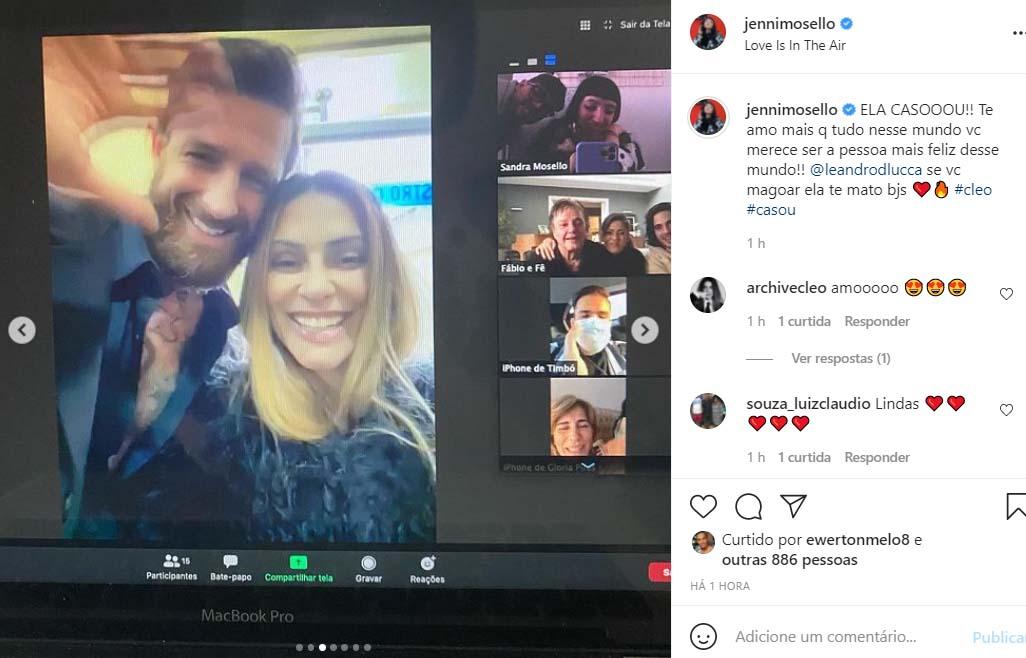 Cleo e Leandro D'Luca se casam no civil - Crédito: Reprodução / Instagram