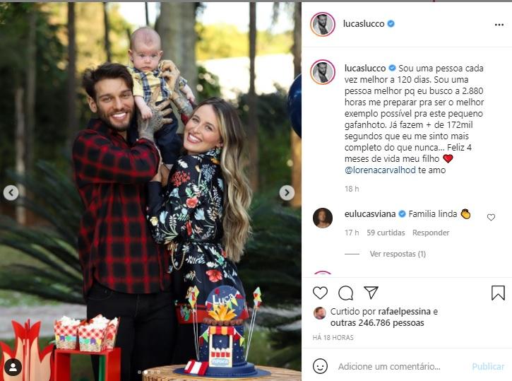 Lucas Lucco e Lorena Carvalho comemoram mêsversário do filho