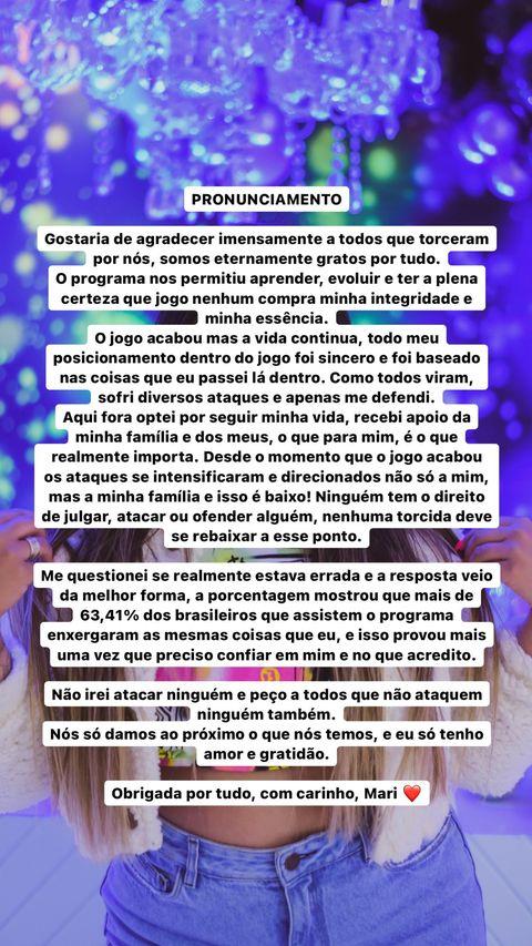 Power Couple: Mari Matarazzo desabafa sobre ataques na web após fim do reality