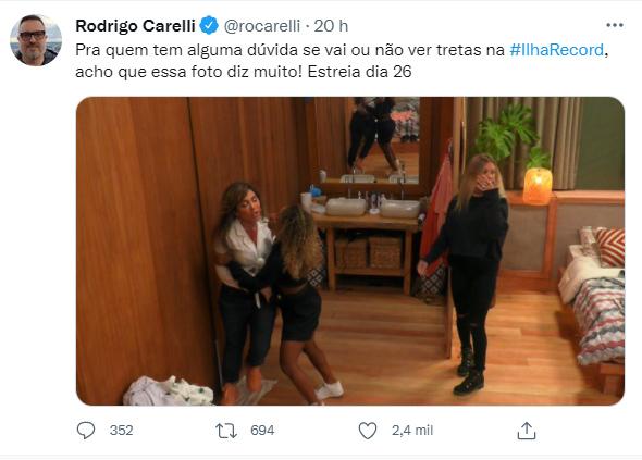 Rodrigo Carelli mostra foto de confusão com Nadja Pessoa no Ilha Record - Crédito: Reprodução / Twitter