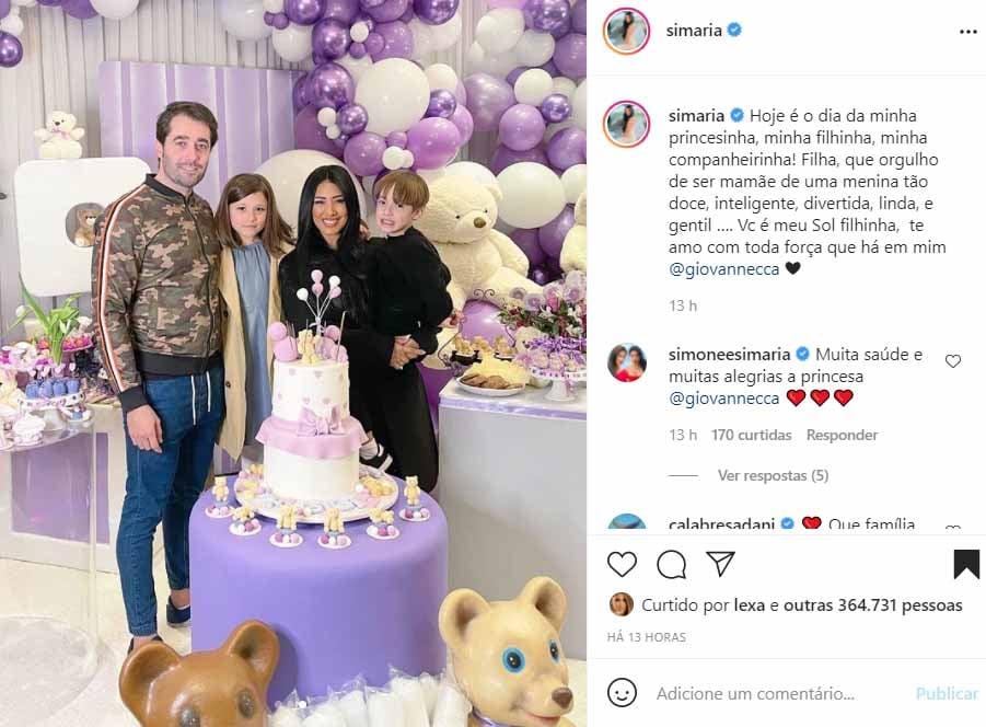Simaria faz festa de aniversário para a filha - Crédito: Reprodução / Instagram