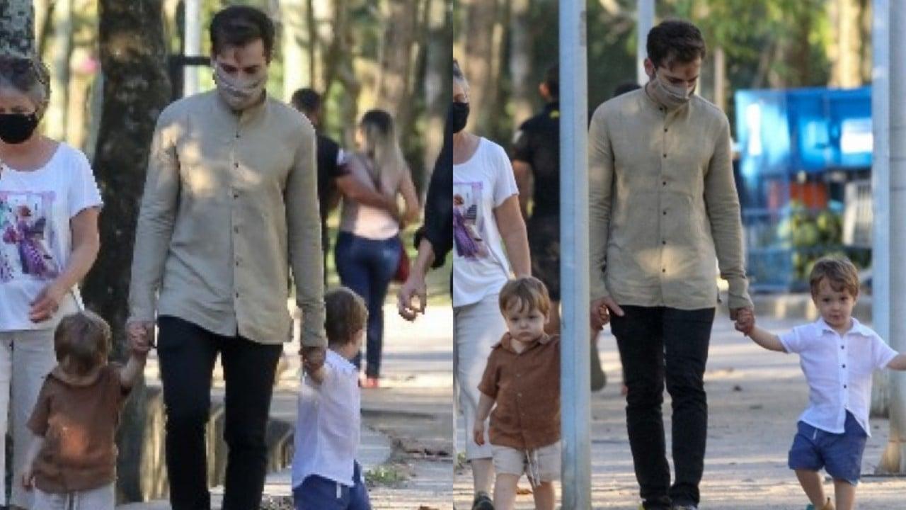Thales Bretas curte dia de parque com os filhos