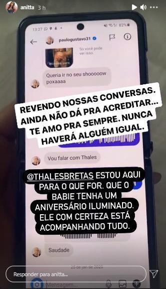 Anitta relembra últimas conversas com Paulo Gustavo