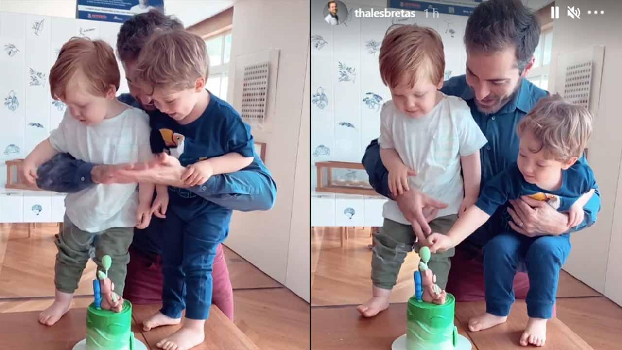 Thales Bretas com os filhos, Romeu e Gael - Crédito: Reprodução / Instagram
