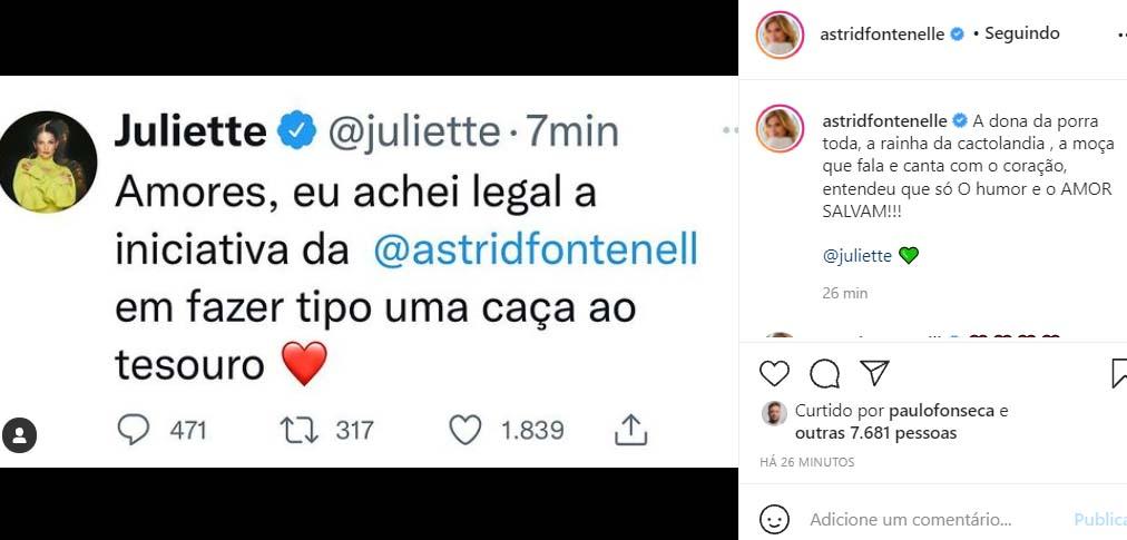 Juliette fala da atitude de Astrid Fontenelle - Crédito: Reprodução / Instagram