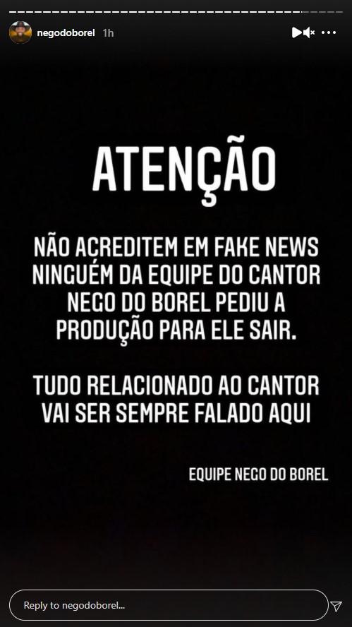 Equipe de Nego do Borel se pronuncia - Crédito: Reprodução / Instagram