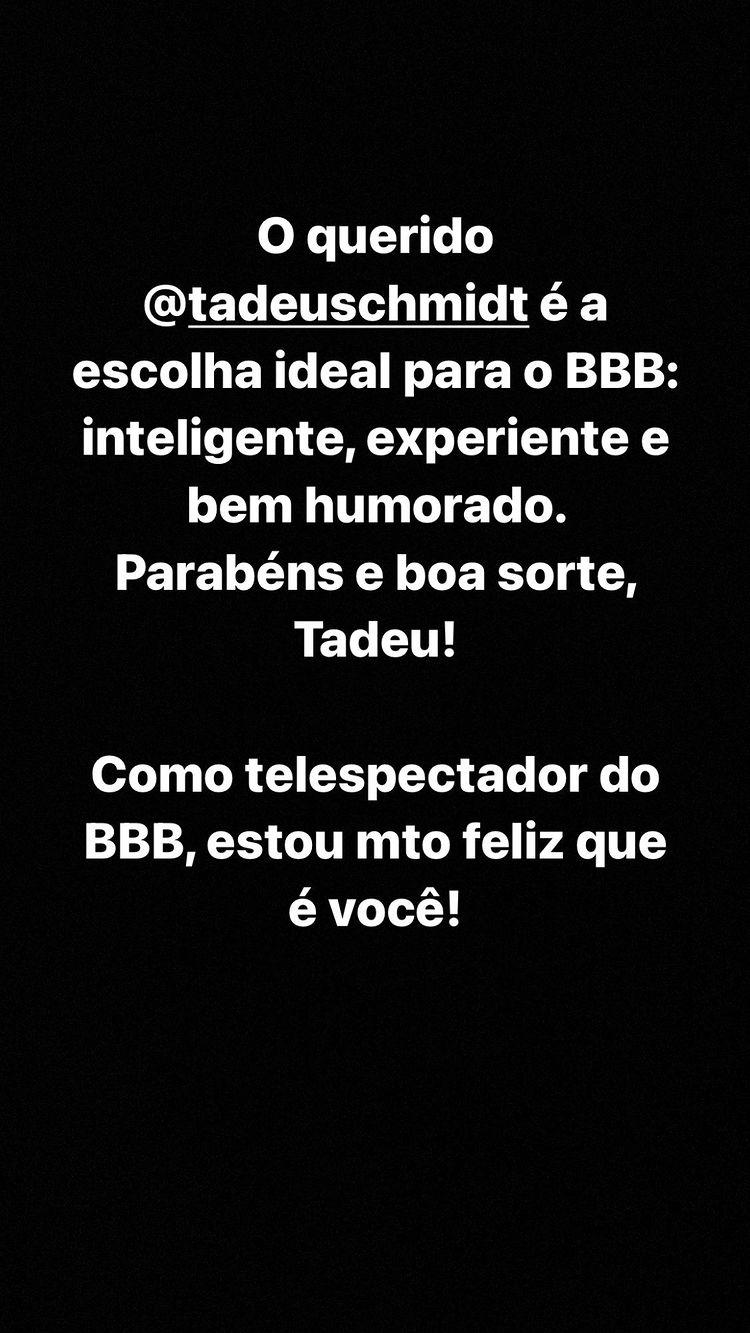 Tiago Leifert manda recado para Tadeu Schmidt - Crédito: Reprodução / Instagram